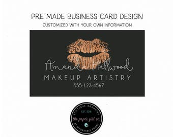 beauty boutique business card makeup artist business card rose gold logo calling card thank you card appointment card stylist biz card