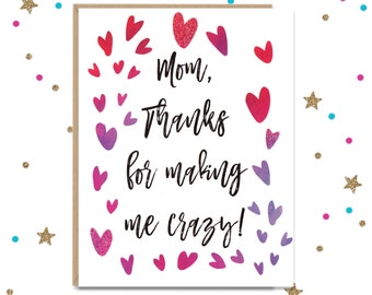 Mother's Day Card. Funny Card for Mom, Funny Mothers Day, Cards for Mom, Funny Gift for Mom, Mothers Day Greeting, Funny Mom Card