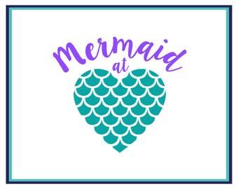 Mermaid Decal -  Mermaid At Heart Decal- Mermaid Car Decal- Mermaid Heart Laptop Decal - Window Decal - Mermaid Yeti Decal- Vinyl Decal