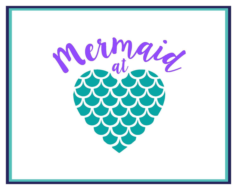mermaid decal mermaid at heart decal mermaid car decal