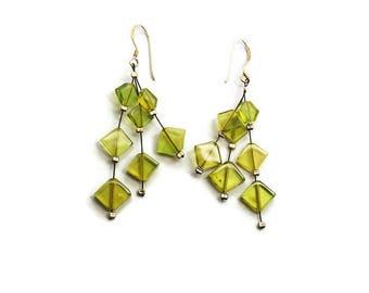 Amber Earrings Long Multi Strand Angular Cut Genuine Green Caribbean Amber Earrings Silver Hooks