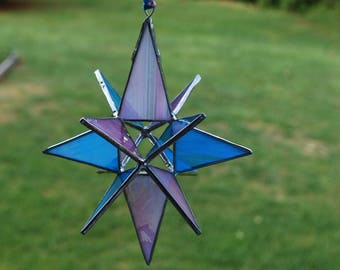 3-D Stained Glass Star Moravian Sun Catcher, 12 Point Hanging Stars Ornament Decoration Iridescent Turquoise Blue and Pink