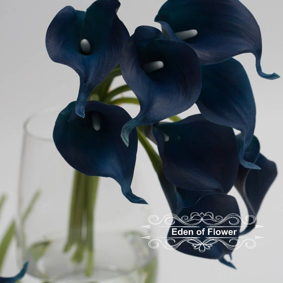 Navy Blue Calla Lilies Real Touch Flowers For Wedding Bridal Bouquet Home Decoration Centerpieces Bouquets From EdenOfFlower On Etsy Studio
