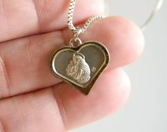 Silver Tone Heart Pendant Madonna/Baby Jesus Chain Necklace