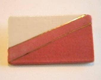 Ceramic Like Mauve/Cream Color Square Pin Brooch