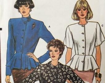 Vogue Vintage 9686 Sewing Pattern Women's Button Blouse Shirt Peplum Uncut Pattern Sz. 12, Sz. 14, Sz. 16