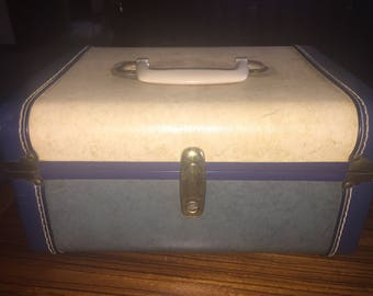 Vintage multi blue train case, carry on luggage
