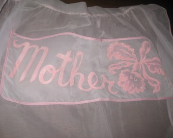 Vintage 1950's  Pink Mothers Day Apron Sheer & Mint condition!!!!  Free Shipping