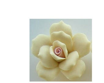"1 Dozen Porcelain Roses - Yellow - 1"""