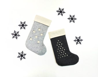 Set of 2 Modern Christmas Stockings / Black and Gray Christmas decor / Nordic Felt Stocking / Gift Socks