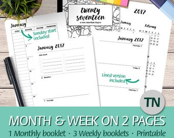 TN Regular - 2017 Month & Week on Two Pages, Dated Weekly Planner, Calendars, Wo2P, Mo2P - Printable Planner Insert Traveler's Notebook, PDF