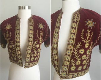 ULTRA RARE Vtg 40s 50s Turkish Velvet Cropped Bolero Jacket Gold Embroidery S