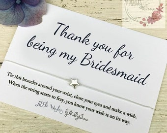 Wish bracelet, gift for bridesmaid, bridesmaid bracelet, thank you gift for bridesmaid, wedding favour, friendship bracelet