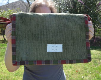 Red and green plaid messenger bag. Up cycled messenger bag. One of a  kind bag. Designer messenger bag.