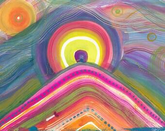 "Mountain Sunrise - 12x18 Digital Print or 5x7"" Greeting Card"
