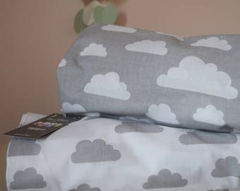 2 x Cot-Bed-Fitted-Sheet-100-COTTON- Cot Bed Fitted Sheet 100% COTTON Grey  Clouds Bedding