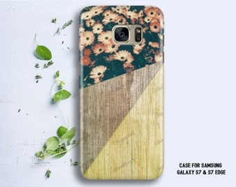 Case for Samsung Galaxy S8 S8+ S7 S7 Edge S6 S6 Edge S5 S4 S3 Geometric Wood texture with Flowers
