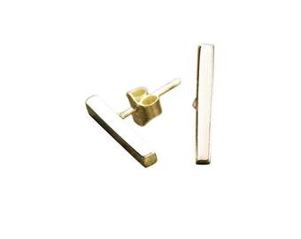 Bar Earrings - Silver Earrings - Gold Earrings - Post Earrings