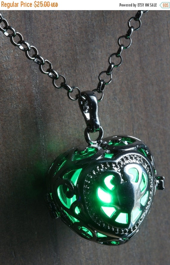 ON SALE TODAY - Green Glowing Pendant Necklace heart Locket Black, Romantic Gift for Her, Fairy glow Jewelry