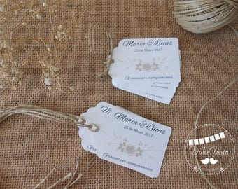 12 tags cardboard boda-Favor Wedding tags