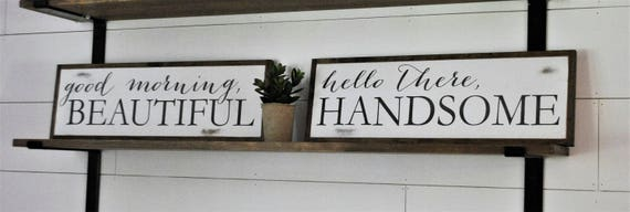 SET OF 2 - good morning beautiful & hello there handsome | distressed master bedroom decor | farmhouse wall art | shabby chic bathroom signs