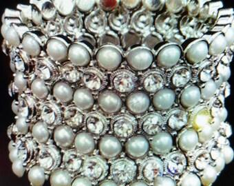 New Silver Stunning Stretch Cuff Pearl & Crystal Cuff Bracelet