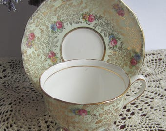 Colclough 6500 Light Green with Gold Ivy and Rose buds Bone China Tea Cup and Saucer