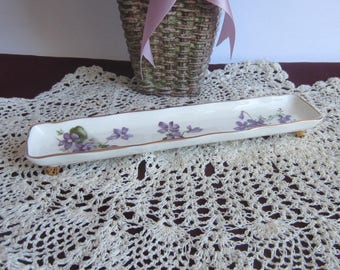 Hammersley VICTORIAN VIOLETS from Englands Countryside Footed Bone China Pin or Ring Dish