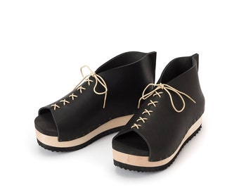 Black Women's Oxfords & Tie Shoes, wooden clogs, Women peep toe, Extra comfort footbed padding, lace up shoes, YOKO, Free shipping