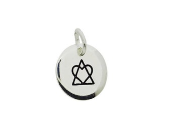 Adoption Symbol Triad Pendant Charm Drop Necklace - Heart and Triangle