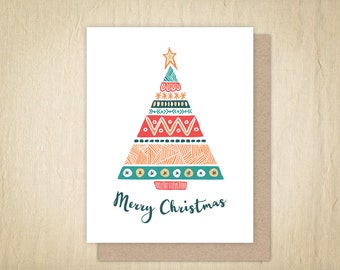 Merry Christmas, Christmas Card, Holiday Greeting Cards, Holiday Card, Illustrated Card, Hand Drawn Christmas Tree