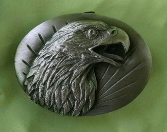 Siskiyou Magestic Eagle Belt Buckle, Vintage, Pewter Look, 1987, Made in USA
