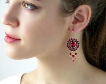 Boho earrings, Red earrings, Statement earrings, Swarovski crystal earrings, Chandelier earrings gold, Red dangle earrings, Gift for wife