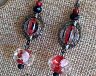 Classy Red, Black and White Drop Earrings