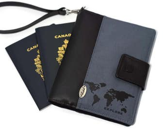 ANTI RFID | Passport holder for solo for one | couple or family passports | Travel pouch | Passport cover | RFID protection | world map