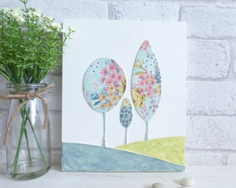 Hill's  and Tree's  Decorative Flower, Textured Wall Art