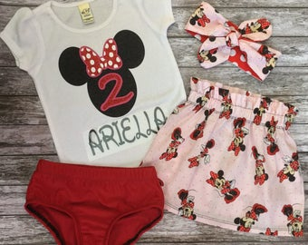 Minnie Mouse Birthday Outfit,Birthday Outfit,Minnie Mouse Skirt,Minnie Mouse Headband,Birthday Outfit,Minnie Mouse Birthday Shirt