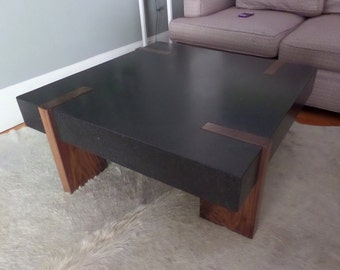 Walnut and Flamed Black Granite Coffee Table