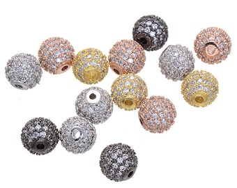 5pcs 6mm CZ Pave Bead, European Beads, Brass Bead,Cubic Zirconia Pave Bead PZ0079