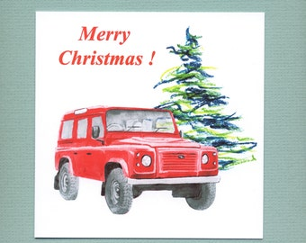 Land Rover Defender Christmas card, red classic car Christmas card for men