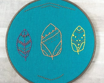 """autumn leaves decor. leaves hand embroidery. embroidery hoop art. colorful fall decoration // Ready to Ship 7"""" Hoop"""