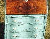Antique Desk -- 1920s Antique Governor Winthrop Secretary Desk -- Shabby Chic