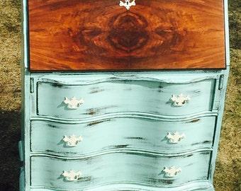 SOLD - Antique Desk -- 1920s Antique Governor Winthrop Secretary Desk -- Shabby Chic