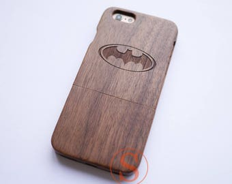 Wood iPhone 7 case, Batman iPhone 7 Plus case, Wood iPhone 6 case, iPhone 6s plus case, Carved Wood iphone case, Wood phone Case, KD-6