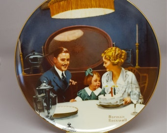 Norman Rockwell Collectible Plate, The Birthday Wish, Vintage Collectible Plate, Fine China, Edwin M Knowles, Gift Idea