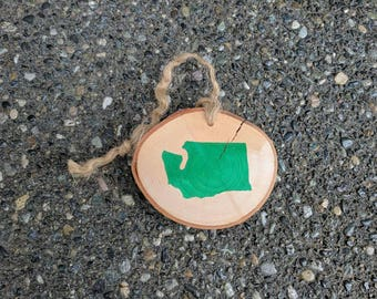 Washington Ornament - State Ornament - Washington State Handpainted Silhouette in Green on Maple Wood - other states available madeto order!