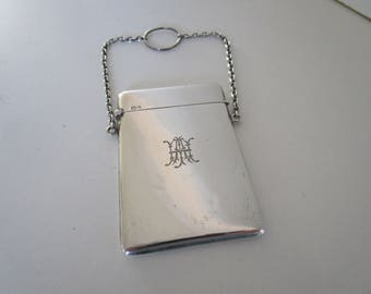 Solid Silver Calling Card Case, Sterling, Ladies, Chain, Hallmarked Chester 1916, English.