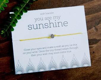 You are my Sunshine Wish Bracelet, Fun Friendship Bracelet, Inspirational Jewelry, Bulk Gift, Gifts under 10, Sun Bracelet, Care package