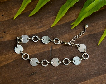 Vintage Silver Chain Bracelet, Circle Chain Bracelet, Chain link bracelet, Circle Bracelet, Gift for Girlfriend, Gifts under 25, Anniversary