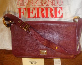Collectible FERRE No 18147 GIANFRANCO FERRE Leather Shoulder Bag Purse